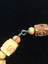 Vintage 50s hand carved wood bead necklace image 3