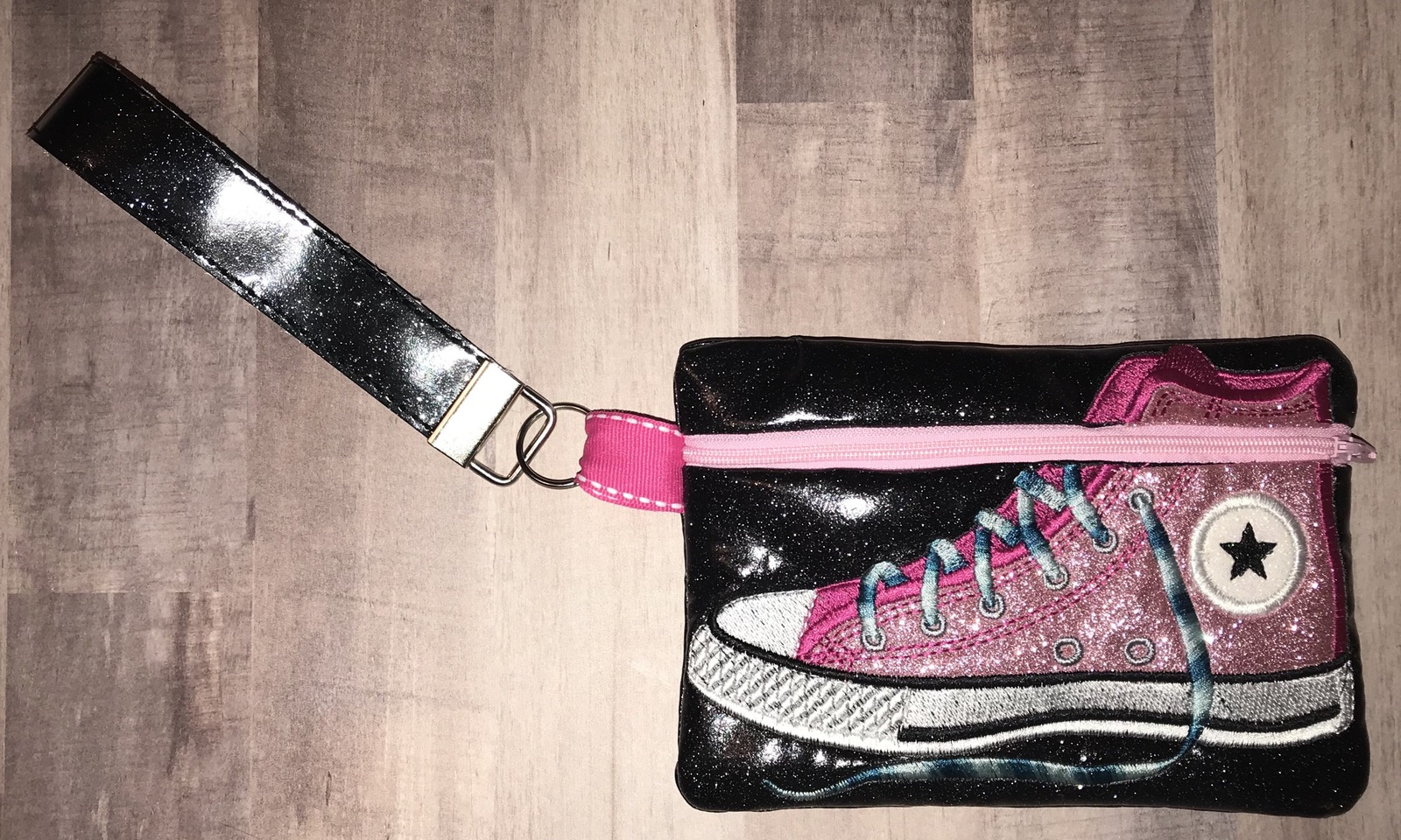 Pink with Black background Converse High Top Sneaker zip bag with handstrap - $18.00