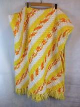 "VTG 75"" Afghan Throw Blanket Hand Knit Retro Mid Century Yellow Orange H... - ₹4,012.28 INR"