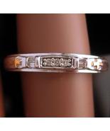 Genuine 3 Diamond wedding band - religious gold cross -  engagement ring... - $175.00