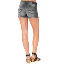 WOMENS SILVER JEANS SHORTS Low Rise Berkley Frayed Denim Black Jean Stre... - $49.97