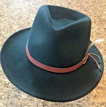 DORFMAN PACIFIC Fedora Black Wool Felt Velvet Hat Feather Sz M Brush Mad... - $32.57