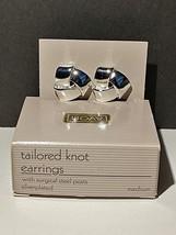 Vintage Avon Tailored Knot Silver Plate Pierced Earrings (med.) In Origi... - $12.99