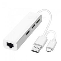 2 in 1 USB Ethernet 3 Port USB HUB 2.0 OTG USB Type C Hub to Rj45 Lan Ad... - $17.17