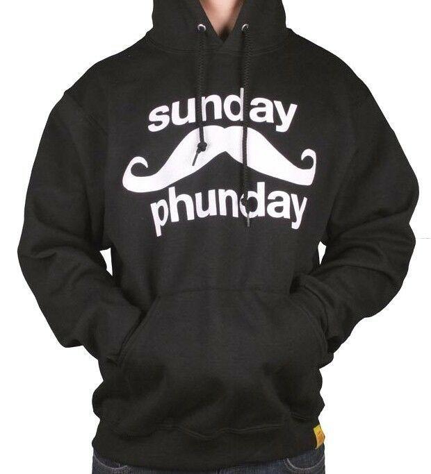 Team Phun Mens Sunday Fun Day Mustache Black White Pullover Hoodie Moustache NWT