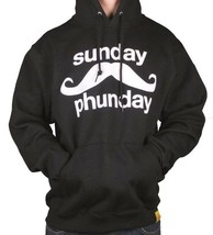 Team Phun Mens Sunday Fun Day Mustache Black White Pullover Hoodie Moustache NWT image 1