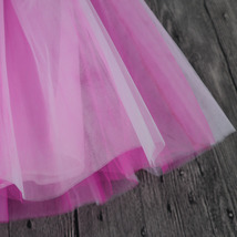 White Pink Tutu Tulle Skirt Puffy 4 Layered Party Full Circle Tulle Skirt Knee  image 4