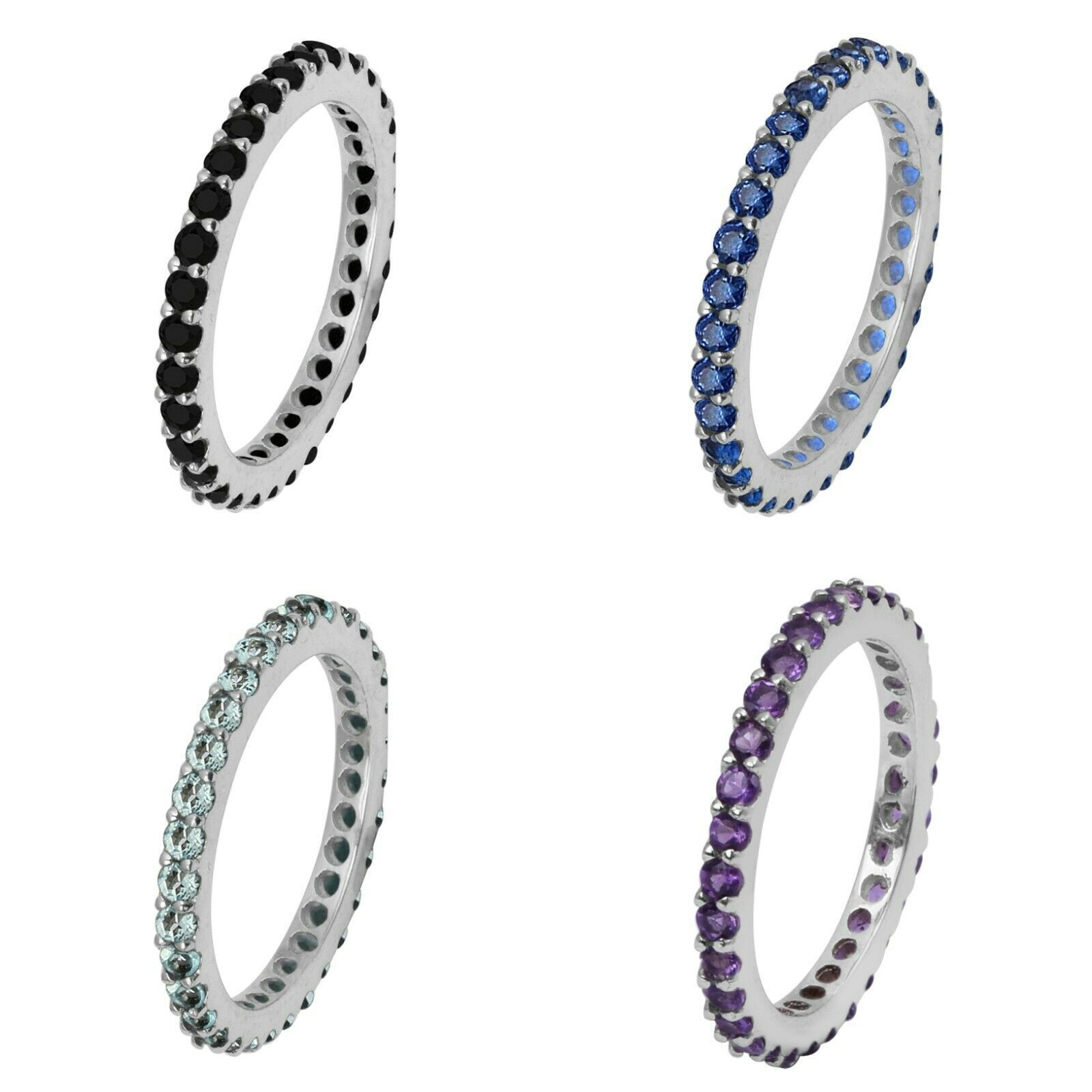 Primary image for Stackable 925 Sterling Silver Set Of 4 Band Amethyst,Topaz,Onyx Women Band Ring