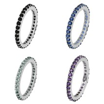 Stackable 925 Sterling Silver Set Of 4 Band Amethyst,Topaz,Onyx Women Ba... - $55.95