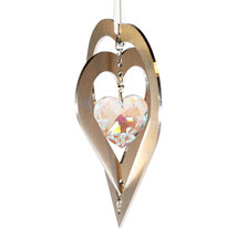 3D Aluminum and Crystal Heart Ornament image 5