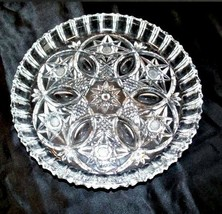 Cut Glass Serving Tray with Star Design AA18-11812   Antique Heavy