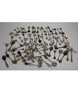 Lot of Souvenir Collector Mini Spoons - Metal Pewter Silverplate Assorted - $42.52