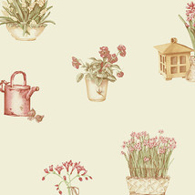 Gardening Sidewall Wallpaper Red, Green, Cream Norwall Wallcovering KE29918 - $37.49