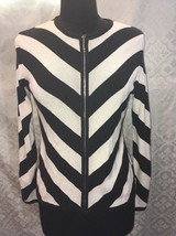 Cardigan Womens Sweater Black And White Chevron Classic Zip Front M - $27.00