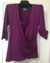 Brand New Women Wrap top size-SMALL stretch Top / blouse in Purple - $17.10