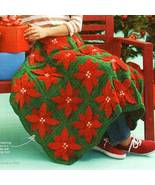 Y232 Crochet PATTERN ONLY Dimensional Christmas Poinsettia Afghan Throw ... - $11.50