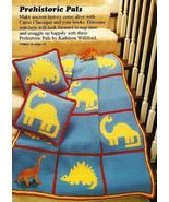 Y280 Crochet PATTERN ONLY Dinosaur Afghan & Pillow plus Football Caddy P... - $9.50