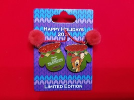 Disney Pin Happy Hoidays 2015 Resort Mittens Fort Wilderness Bambi LE 1000 - $24.99