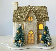 Pottery Barn Lighted Glittery House Christmas Ornament Gold w/ Little Trees New - $14.45
