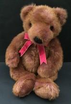 Ty Taffybeary Teddy Bear Plush Stuffed Animal Reddish Brown Fur Red Ribb... - $12.86