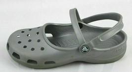 Crocs Donna Zoccoli Sandali Infilare Grigio Gomma Misura 17.7cm - $17.83