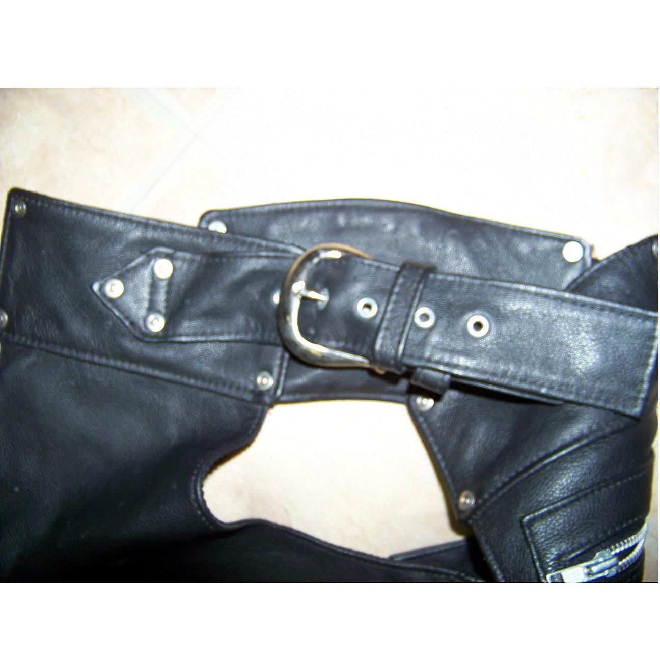 Harley Davidson leather chaps black mens large RESERVED FOR SKAE