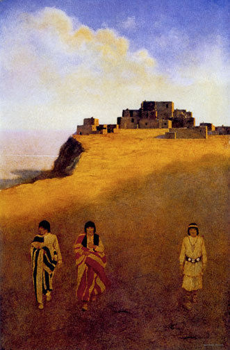 Pueblo Dwellings 22x30 Hand Numbered Edition Maxfield Parrish Art Deco Print