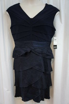 Adrianna Papell Petite Dress Sz 6P Navy Shimmer Jersey Tiered Cocktail P... - $85.81