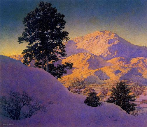 """""""Winter Sunrise 22x30 Hand Numbered Ltd. Edition Maxfield Parrish Art Deco Print"""