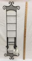 "Plate Rack Wall Hanging Display Holds 3 Plates 36"" Black Metal Wire Scroll - $22.76"