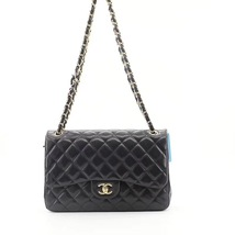 NEW AUTHENTIC CHANEL BLACK QUILTED LAMBSKIN JUMBO CLASSIC DOUBLE FLAP BAG GHW