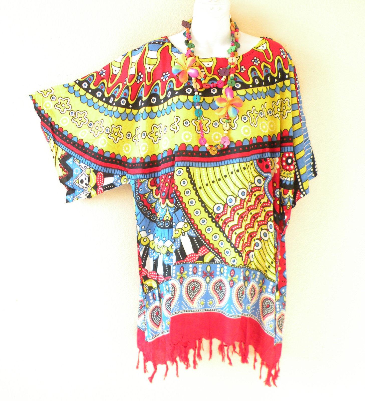 KB679 Abstract One Size Women Kaftan Poncho Kimono Tunic Blouse Top M L, XL, 1X