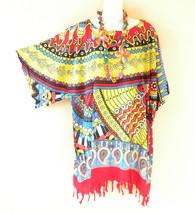 KB679 Abstract One Size Women Kaftan Poncho Kimono Tunic Blouse Top M L, XL, 1X - $24.65