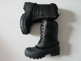 NIB HUNTER Original Shearling Lined Pac in Black Lace-up Rain Boots US 6 $235 - $99.99