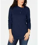 $46.50 Karen Scott Cotton Envelope-Neck Sweater, M, Intrepid Blue - $16.48