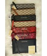 NWT MICHAEL KORS Leather or Logo LG Wristlet Navy Grey Black Acorn Sangr... - $39.99+