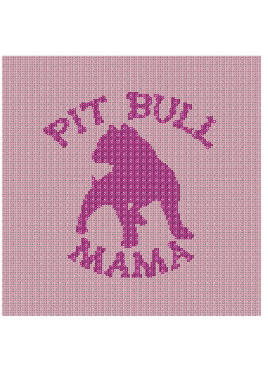 Pit Bull Mama Color Graph Afghan Pattern