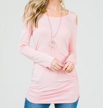 Pink Cold Shoulder Top, Pink Ruched Side Top, Lace Trim Cold Shoulder Top image 3