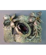 Antique Art Nouveau Metal Brooch Huge Purple Gl... - $69.29