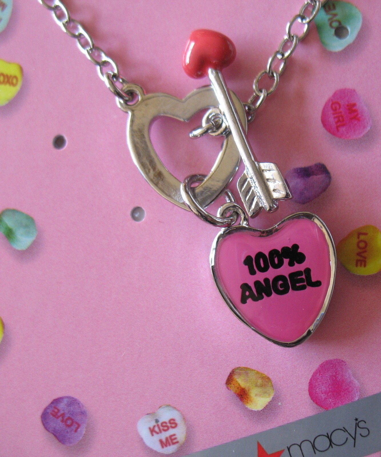 Sweetheart Necklace New Candy Hearts Pink 100% Angel Silver Tone Chain Cupid
