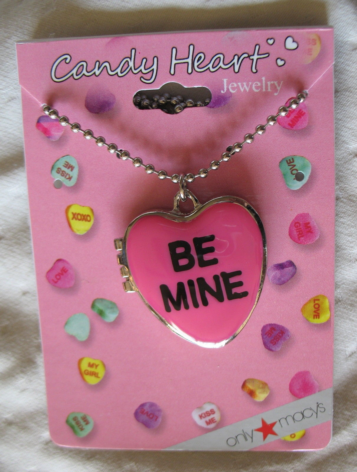 Valentine's Day Sweetheart Necklace New Candy Hearts Locket Pendant Silver Tone