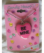 Valentine's Day Sweetheart Necklace New Candy Hearts Locket Pendant Silv... - $11.64