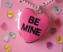 Valentine's Day Sweetheart Necklace New Candy Hearts Locket Pendant Silver Tone image 3
