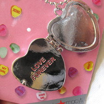 Valentine's Day Sweetheart Necklace New Candy Hearts Locket Pendant Silver Tone image 4