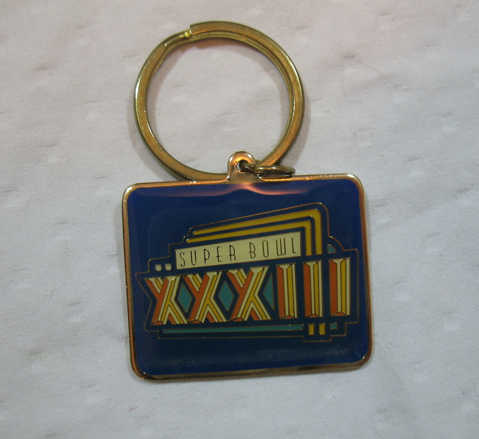 Super Bowl Key Chain XXXIII 33 Gold Tone UPS Preferred Customer Collectible