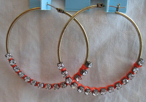 Harajuku Lovers Earrings New Big Hoops Cz Stones Thread Accents Jewelry Nwt