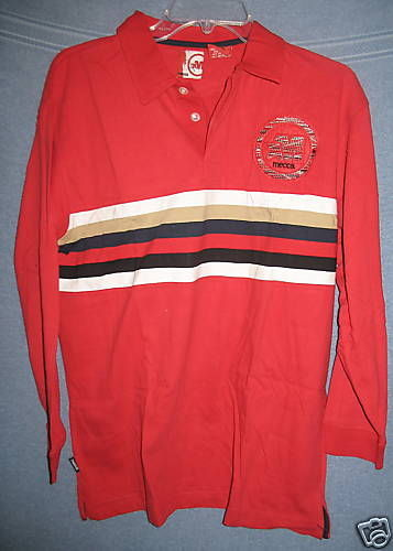 Red Polo Shirt New Mecca Long Sleeve Large 14-16 100% Cotton Stripes Rugby Style