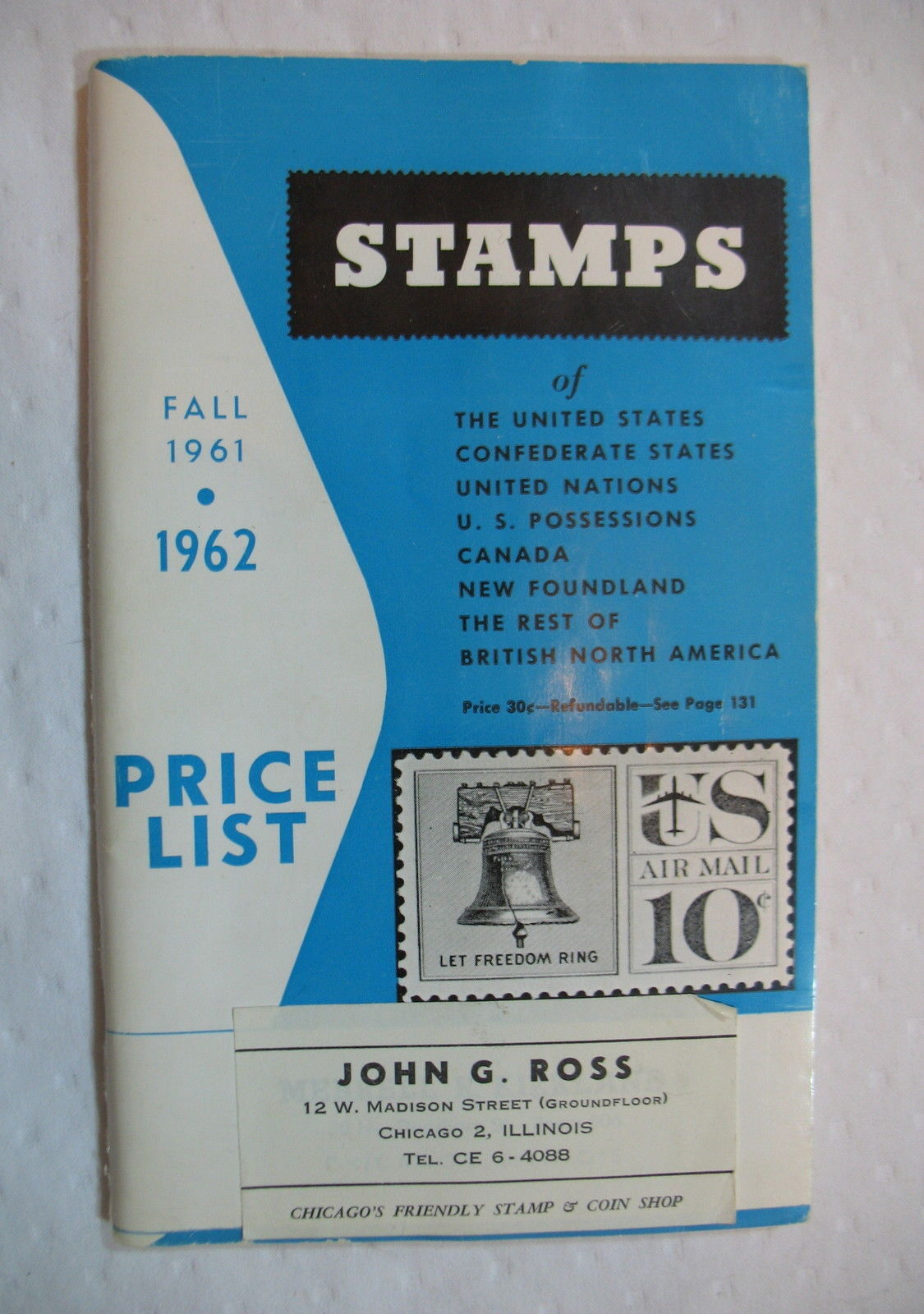 Stamp Price List Brookman Company 1961 1962 Vintage Guide Collectible USA