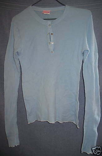 Sparkle New Large Juniors Shirt Long Sleeve Light Blue Waffle Top Made in USA