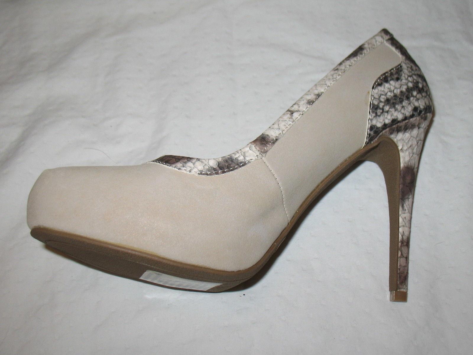Forever Paula Abdul Size 8 Exotic Print Pump New High Heel Beige Avon Club Style image 3